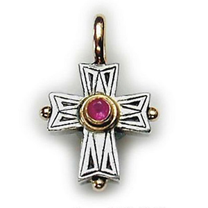 GeroChristo Sterling Silver Cross With Ruby-18ky Bale & Bezel