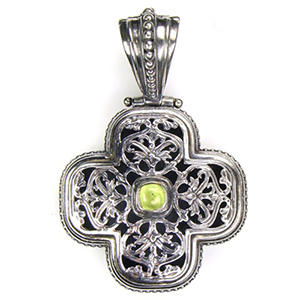 Peridot Sterling Silver Cross 18ky