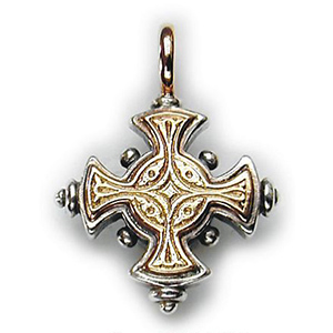Sterling Silver Cross With 18ky Gold Border