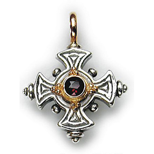 Sterling Silver Cross Garnet Center Stone
