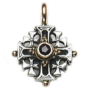 Sterling Silver Cross-Garnet Center Stone