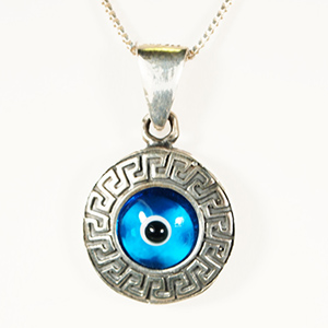 Sterling Silver/Greek Key/Eye Pendant